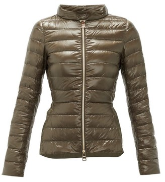 Herno Ultralight Funnel-neck Quilted Jacket - Womens - Khaki