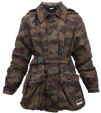 Miu Miu Panama Camouflage Shearling-lined Padded Jacket - Womens - Green Multi