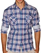 191 Unlimited Men's Blue Plaid Shirt