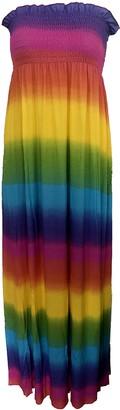 MIXLOT New Women's Strapless Boobtube Rainbow Print Ladies Colorful Vibrant Sheering Summer Beach Maxi Dress (Rainbow XL 16-18)