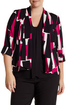 Kasper Printed Shawl Collar Blazer (Plus Size)