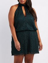 Charlotte Russe Plus Size Pleated Lace Mock Neck Romper