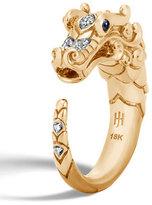 John Hardy Legends Naga 18k Brushed Gold Ring with Diamonds, Size 6