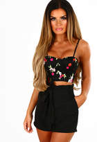 Pink Boutique About The Boy Black Tie Front High Waisted Shorts