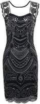 PrettyGuide Women¡ ̄s 1920s Embroidery Sequin Deco Cocktail Gatsby Flapper Dress M