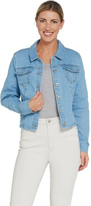 Du Jour Button Front Denim Jacket with Ruffle Back Detail