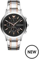 Emporio Armani Emporio Armani Stainless Steel Dress Rose Gold Accent Bracelet Mens Watch