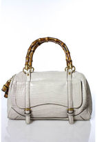 Gucci Limited Edition Off White Crocodile Bamboo Top Handle Boston Handbag EVHB