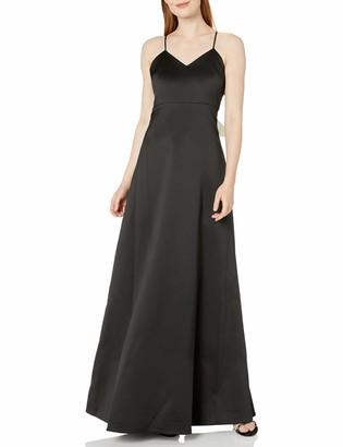 Halston Women's Sleeveless V Neck Structured Gown with Bow