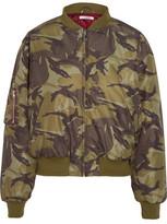 GANNI Coated Printed Shell Bomber Jacket