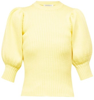 Cecilie Bahnsen Maddy Puff-sleeve Ribbed Sweater - Light Yellow