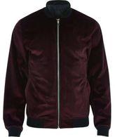 River Island MensRed velvet bomber jacket