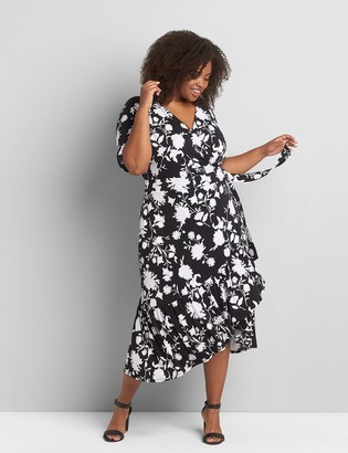 Lane Bryant Printed Faux-Wrap Midi Dress