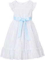 Laura Ashley White & Blue Sash Dress & Diaper Cover - Infant Toddler & Girls