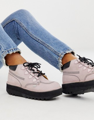 Kickers Kick Hi Creepy light pink suede and leather hi top flat boots-Purple