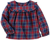 Osh Kosh Oshkosh Long Sleeve Plaid Top - Baby Girls