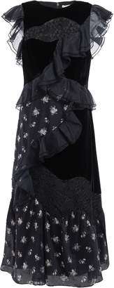 Rebecca Taylor Floral-print Organza And Fil Coupe Velvet Midi Dress