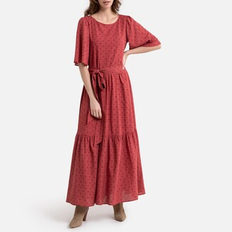 La Redoute Collections Cotton Mix Maxi Dress in Polka Dot Print and Short Sleeves