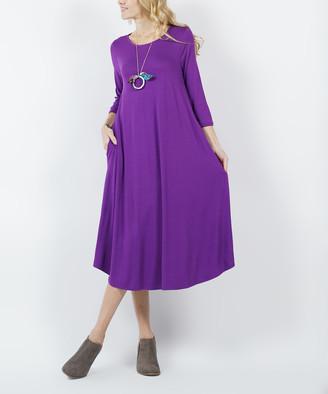 Lydiane Women's Casual Dresses PURPLE - Purple Crewneck Three-Quarter Sleeve Pocket Midi Dress - Women