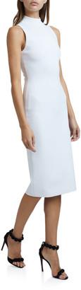 Alaia Mock-Neck Sleeveless Bodycon Below-Knee Dress