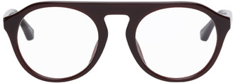 Dries Van Noten Burgundy Linda Farrow Edition Round Glasses