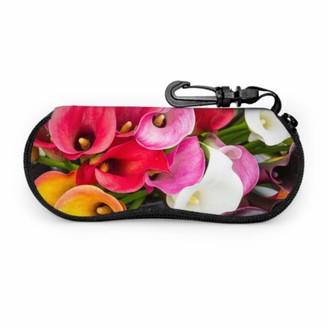Aqqa Beautiful Bouquet Of Calla Lilies Ladies Eyeglass Case Travel Sunglass Case Light Portable Neoprene Zipper Soft Case Girl Eyeglass Case