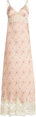 Paco Rabanne Lace-Trimmed Printed Crepe Slip Dress