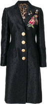 Dolce & Gabbana embroidered rose patch jacquard coat