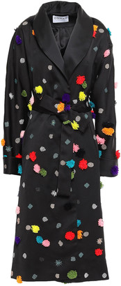 Osman Pompom-embellished Embroidered Satin-twill Coat