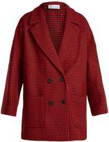RED Valentino Double-breasted hound's-tooth wool-blend coat