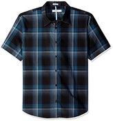 Calvin Klein Men's Short Sleeve Uneven Stripe Woven