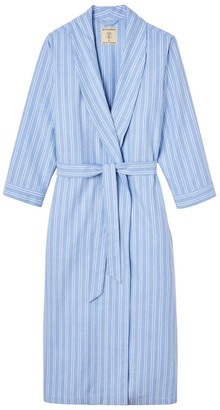 British Boxers Women's Westwood Blue Stripe Brushed Cotton Dressing Gown