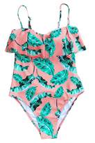 Cupshe Fashion Woen's Falbala Leaves Printing Padding One Piece Swisuits Beach Bathing Suit