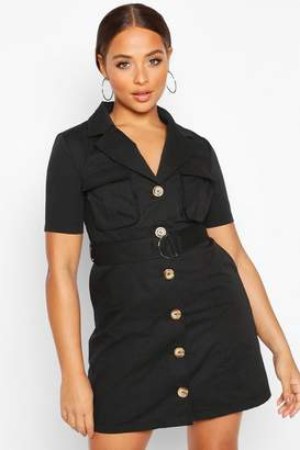 boohoo Woven Utility Pocket Blazer Dress