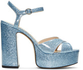 Marc Jacobs Blue Glitter Lust Platform Sandals