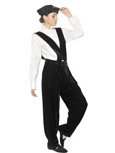 Giorgio Armani Viscose Cupro Velvet Suspender Trousers