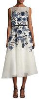 Lela Rose Sleeveless Floral-Embroidered Midi Dress, White/Blue