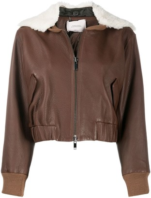 Dorothee Schumacher Cropped Faux Shearling Collar Bomber Jacket