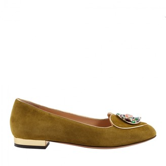Charlotte Olympia Green Suede Flats