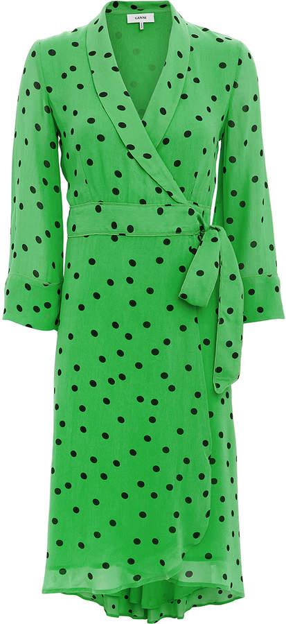 Ganni Green Polka Dot Wrap Dress