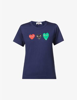 Comme des Garcons Colour-block logo cotton-jersey T-shirt