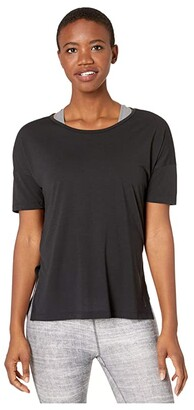 Nike Yoga Layer Short Sleeve Top (Black/Dark Smoke Grey) Women's Clothing