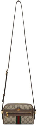 Gucci Brown and Beige GG Supreme Small Ophidia Bag