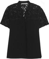 Alexis Aya lace-paneled washed-silk top