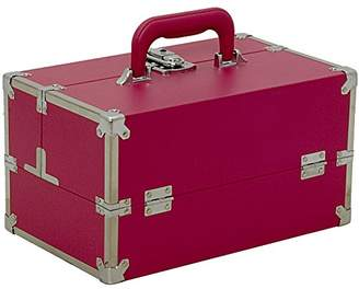 Sunrise Pro Makeup Train Case Organizer with 4 Padded Extendable Trays and Keylock