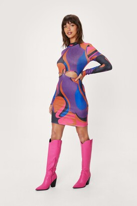 Nasty Gal Womens Abstract Print Cut Out Bodycon Mini Dress - Purple - 4