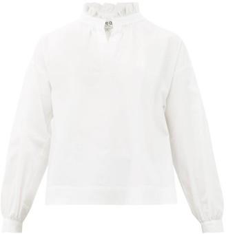 Sea Penny Ruffled-neck Cotton-blend Blouse - White