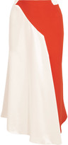 Thierry Mugler Asymmetric two-tone crepe and satin skirt