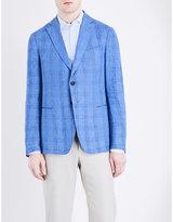 Armani Collezioni Tailored-fit Checked Linen Jacket