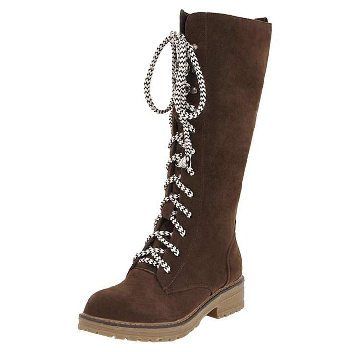 e0bf56d6c25 Aurorax-shoes Clearance Waterproof Mid Calf Boot 5.5-10.5,Women Western  Military Combat Lace-Up Toe Shoes Length 11.81''
